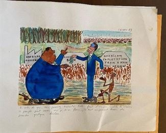French caricatures for sale both by Artis Cazaux dated 1985 aking $40 each