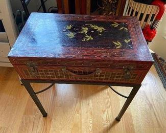 "Circa late 1800""s handprinted chinese trunk on metal frame originally $720 asking $280"
