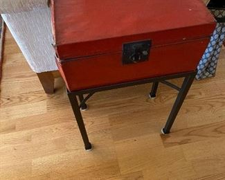 """leather wrapped antique box on an iron stand from Northern China originally $225 asking $100  measures 14"""" x 8' x7"""""""