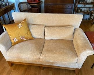"""Terrific sofa for a small space- check the follow photo of the lines on the back.   Fabulous Koi silk pillow sold separately. Loveseat is Ted Boerner and measures 34""""h x 28""""d x 57""""l asking $280"""