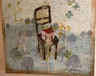 """Original oil by Anne Siems, 2004 titled  """"small house on chair"""" asking $275 measures 11.5"""" sq."""