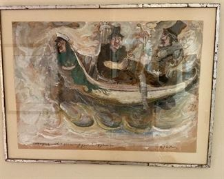 """James Martin original """"Voyaging with a Picnic Gypsies Eggbeater"""" 18"""" x 23"""" asking $480"""