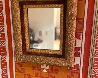 wonderful framed mirror - beveled glass and velvet lining around edges of frame asking $80