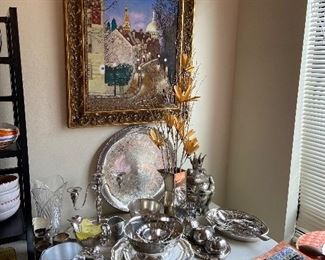 silver-plate and sterling for sale.  Art Messer original on the wall