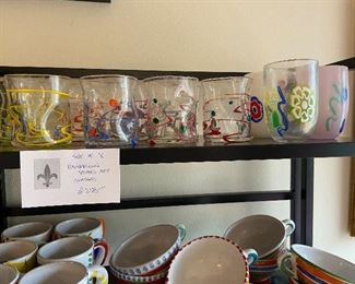 wonderful handblown glasses $250 for the set, signed by the artist