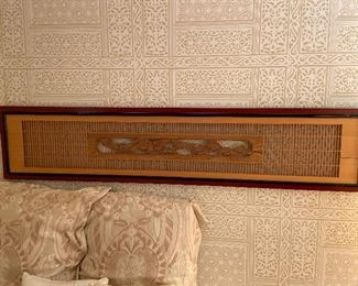 """aisan screen - owner used Rosewood pierce bamboo panel used in this home as a wall mounted headboard. It is approx. 69""""l x 15""""h x 1.5""""d. Asking $270"""