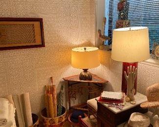 Parasols, papier mache bowl, antique bamboo corner table lamps and more
