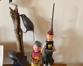 Fabulous decorative art pieces Bill Fink metal dolls and a mixed media sculpture by Host asking $90