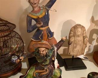 "Northern Thai dancer asking $220 and Samurai warrior asking $180 and carved alabaster figural standing Buddha fragment asking $450  7""h originally $920"