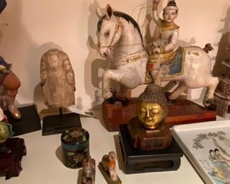 Horse and rider sculpture is from Southeast  Asia asking $160
