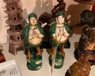 "Porcelain figuresKinnar/Kinnaree ""Chicken Feet Men"" asking $190 for the pair, marble Foo Dog stamp, carved stone temple asking $120"