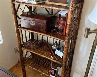 """Scorched style bamboo bookshelf with four shelves, 27""""w x 52""""h x 11.75"""" deep.  Asking $250."""