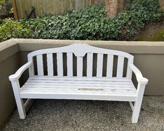 """Sturdy garden bench 62"""" long asking $70 as found"""