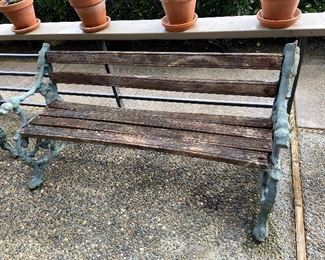 """K G COllection painted cast iron and wood bench is approximately 57"""" w. two armchairs sold with it in the next photo. Asking $260 for the set."""