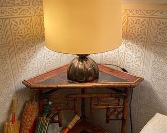 Antique bamboo corner table