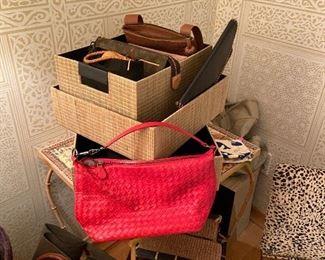 Designer handbags from Bottega Venetta, Louis Vuitton, ColeHaan, Mulberry and others