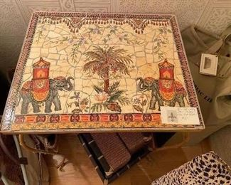 Bamboo-style framed tile top table asking $90