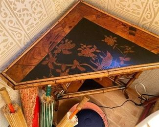 top view of antique corner table