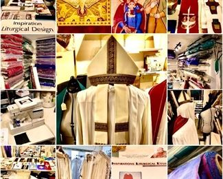 TO SEE FABRIC PICS, SCROLL TO THE BOTTOM.... Captain Patterson's late wife, Linda, owned a liturgical vestment's business. Approx 250 rolls/bolts of fabric, etc...