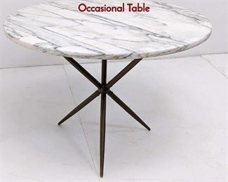 Lot 4 Gio Ponti style Italian Marble  Brass Occasional Table