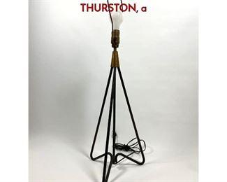 Lot 9 Tripod Iron Hairpin Base Table Lamp. GERALD THURSTON, a