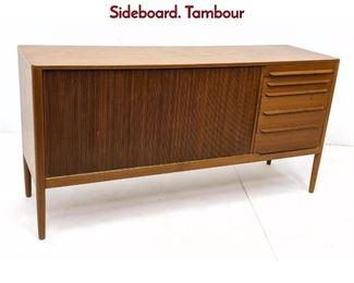Lot 10 RANDERS Danish Modern Teak Credenza Sideboard. Tambour