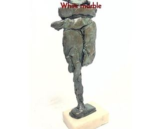 Lot 12 Modernist Bronze Abstract Table Sculpture. White marble