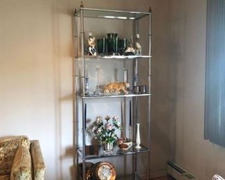 "$495 - VINTAGE CHROME ETAGERE                                 81"" TALL BY 30"" WIDE BY 14"" DEEP"