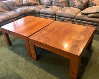 $225 - PAIR 1970's SQUARE WOOD PARSON COFFEE TABLES
