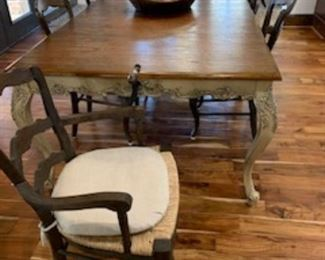 French Country Table with crank 6 chairs                               Furniture by  Restoration Hardware