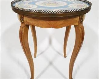 Lot 005 Vintage Hand Painted Porcelain Top Side Table