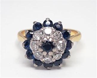 Lot 011 Vintage Diamond & Sapphire Engagement Ring 18K Gold