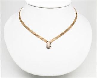 Lot 012 14K Gold & Diamond Necklace
