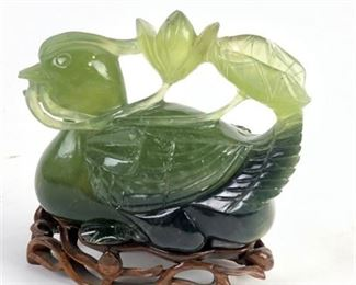 Lot 002 Antique Nephrite Jade Duck and Lotus Carving