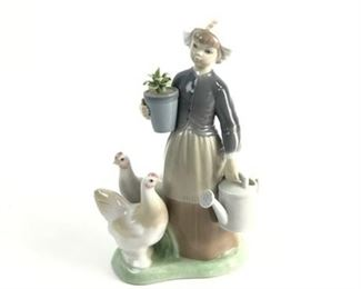 Lot 003 Lladro #1103 Retired Girl with Hens Figurine