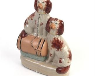 Lot 009a Antique Staffordshire King Charles Spaniels on Barrel Figurine