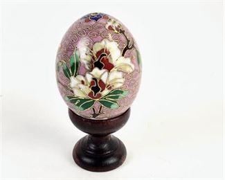 Lot 010 Cloisonne Petite Decorative Egg on Pedestal