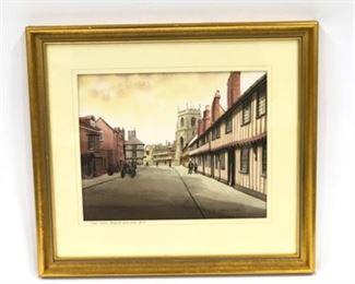 Lot 013 David Coupe Original Watercolor 'Town Centre-Stratford Upon Avon'