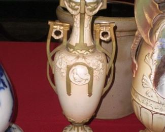 """15"""" Royal Dux Art Nouveau vase with relief portrait"""