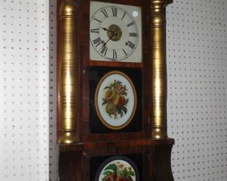 """30"""" Federal Ogee rosewood weight driven 8 day wall clock c.1830"""