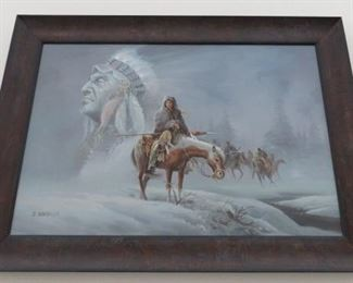 Artist Signed J. Gonzalez Native American Indian Painting