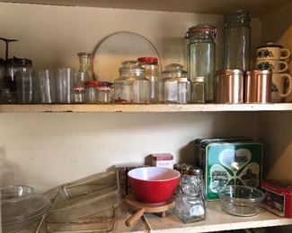 Pyrex bowl & baking dishes, glass jars & more