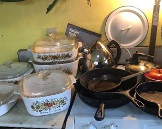 Cast iron skillets, Corning Ware casseroles, other cookware