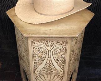 Hexagonal Art Nouveau tabouret/stand (oak under paint), Stetson straw cowboy hat