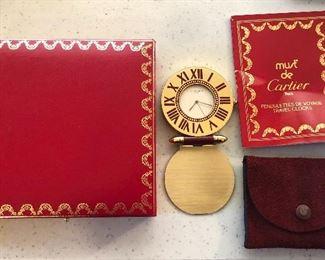 Cartier travel alarm clock with original presentation box, suede pouch & paperwork (circa 1990)