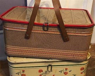 Tin litho picnic basket & bread box