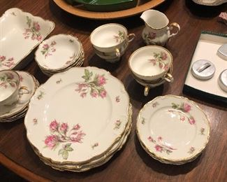 """Pretty set of Bavarian """"Moss Rose"""" china, cookie cutters"""