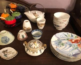 Condiment set, Japanese teapot & cups, Asian dishes