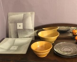 Awesome glass light shades by John Virden (3 alike), yellow ware bowls, silver plate trays