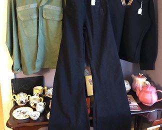 Army shirt, wool Navy sailor pants & shirt